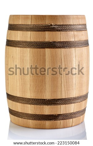 Wooden barrel isolated on a white background