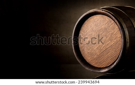 Wooden barrel on a background of brown texture - stock photo