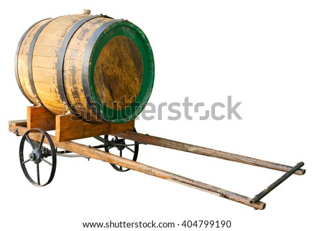 Wooden barrel on cart isolated. Clipping path included.