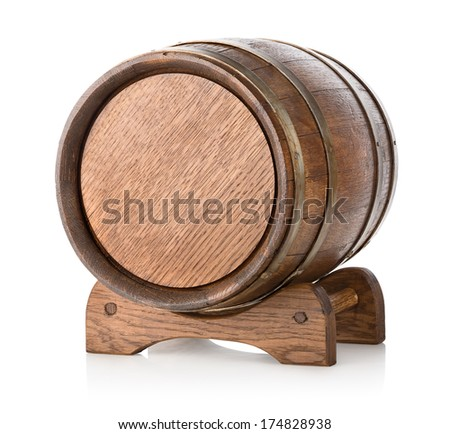 Wooden barrel on stand isolated on a white background - stock photo