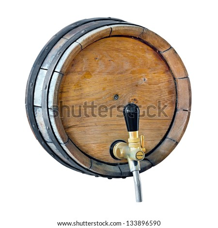 wooden barrel with a tap in the wall of isolated on white background - stock photo