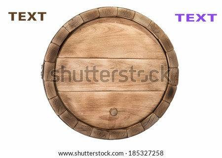 Wooden barrel with iron rings. Isolated on white background.
