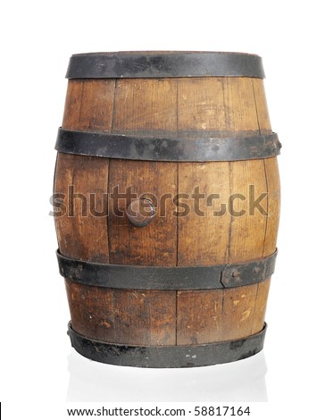 Wooden barrel with iron rings. Isolated on white background - stock photo