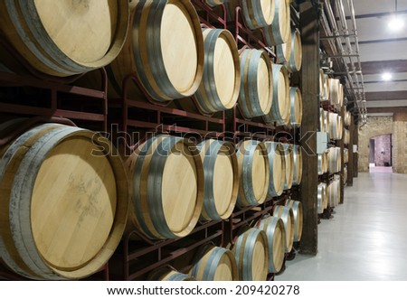 wooden barrels in contemporary winery - stock photo