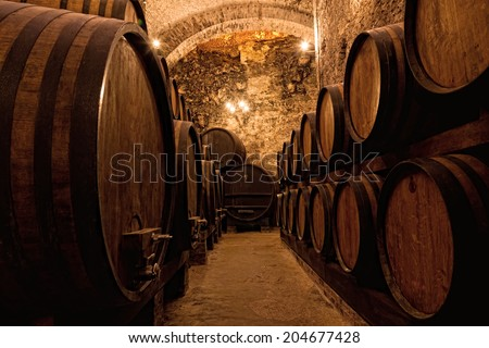 Wooden barrels with wine in a wine vault, Italy - stock photo
