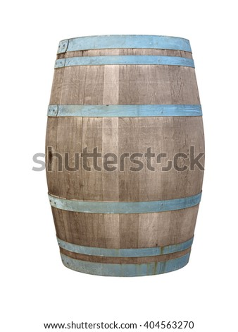 wooden barrique hogshead isolated on white background - stock photo