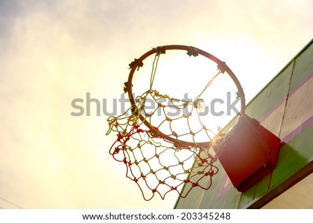 Wooden basketball hoop - stock photo