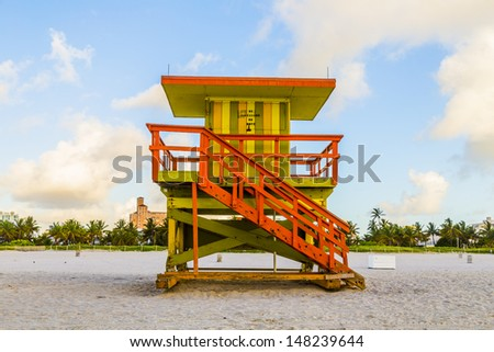 wooden bay watch huts in Art deco style at the beach - stock photo