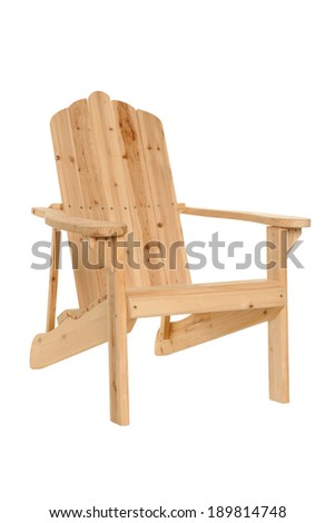 wooden beach chair on white - stock photo