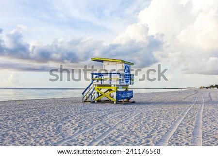 wooden beach hut in Art deco style im south beach, Miami - stock photo