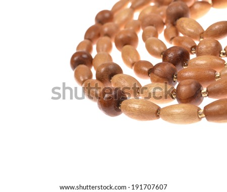 Wooden beads isolated on white background