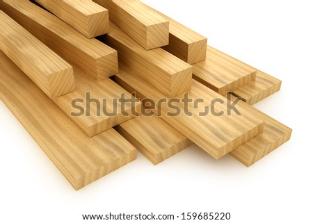 Wooden beams and planks - stock photo