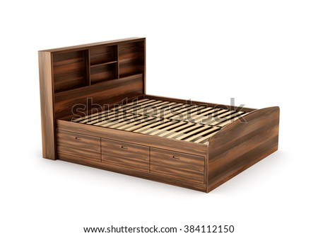 Wooden bed, isolated on white