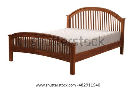 Wooden bed isolated on white background with clipping path.
