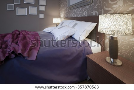 Wooden bed with colorful blankets and white pillows in bedroom with grey walls. Bedside table and lamp both sides of bed. Pattern in interior. 3D render