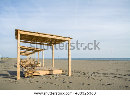 Wooden beds on the beach
