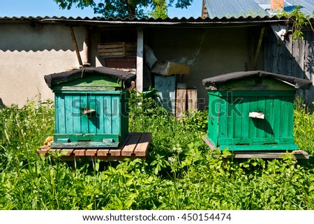 Wooden beehives. Natural beekeeping in your backyard. Apiculture.