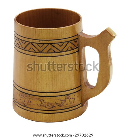 wooden beer mug isolated on white background with clipping path