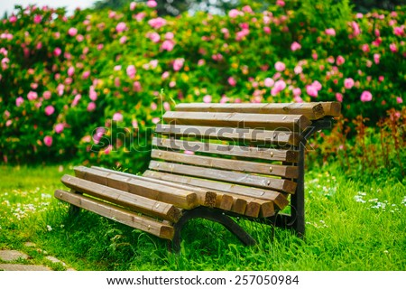 Wooden Bench And Flowers In Garden. Beautiful Summer In Park. Instant Toned Image - stock photo