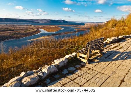 Wooden Bench and Panoramic View of Volga River Bend near Samara, - stock photo