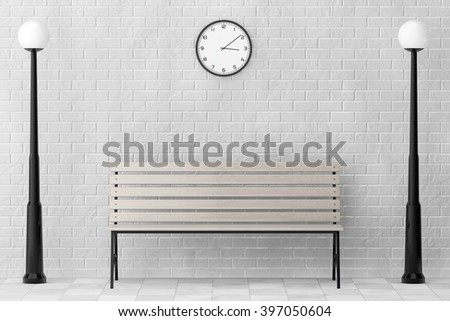 Wooden Bench and Street Lamps against white brick wall with Modern Clock extreme closeup - stock photo