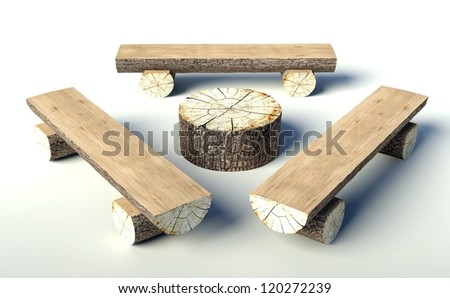 furniture made from tree trunks. Wooden Bench And Table Made Of Tree Trunks, Objects Furniture From Trunks