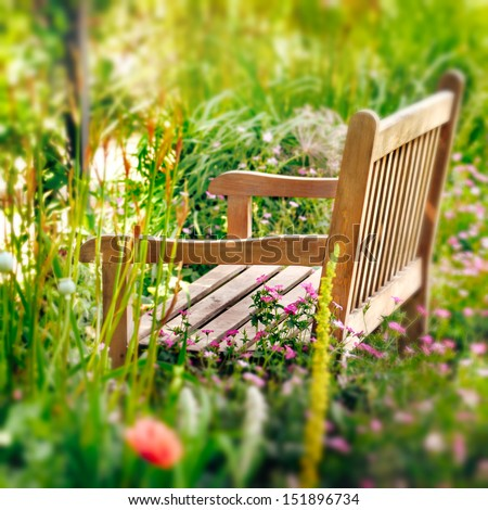 Wooden Bench in a wildflower garden. Square composition. - stock photo