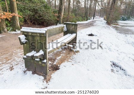 Wooden bench in forest with snow - stock photo