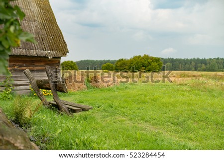 Wooden bench in front of the grass field, Summer