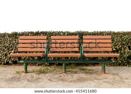 Wooden bench in the park., Brown Wooden bench. - stock photo