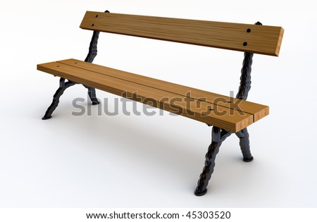Wooden bench in the park model - stock photo