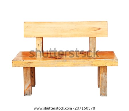 Wooden bench isolated by hand made on white background, clipping path. - stock photo