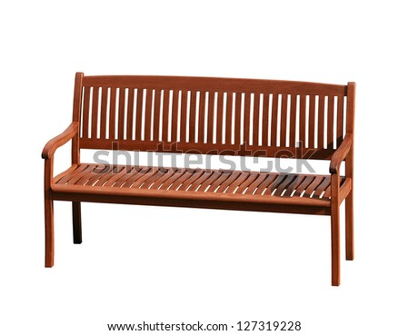 Wooden Bench isolated on white background - stock photo