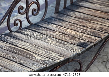 wooden bench. outdoor shot