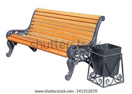 wooden bench with an urn isolated on white background