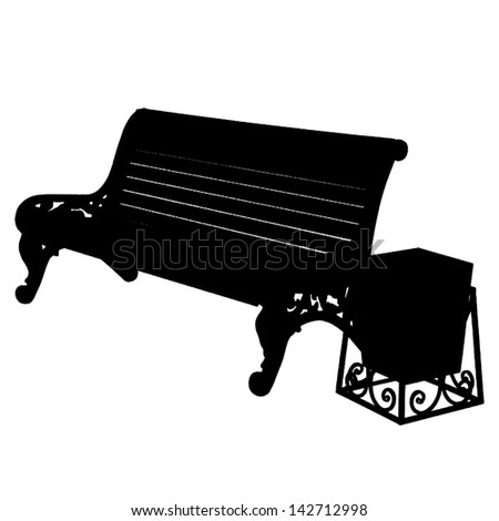 wooden bench with an urn isolated on white background. Vector illustration. - stock photo