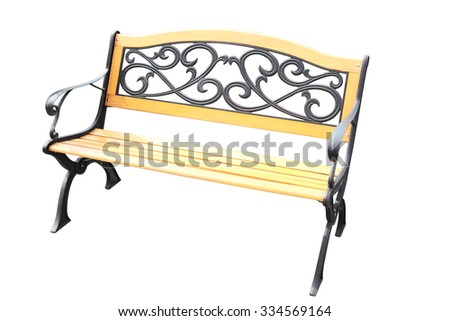 wooden bench with metal decorations in vintage style, isolated on white - stock photo