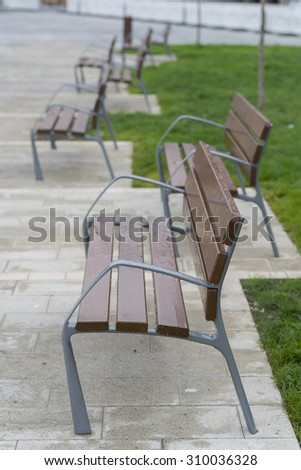 Wooden benches.