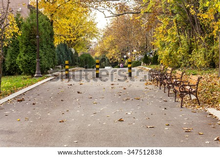 Wooden benches from the city park in the autumn colorful fallen leaves with sunny autumn day. City park in autumn - stock photo