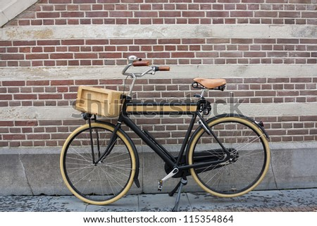 Wooden bike in Holland - stock photo