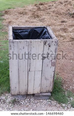 wooden bin outdoor - stock photo