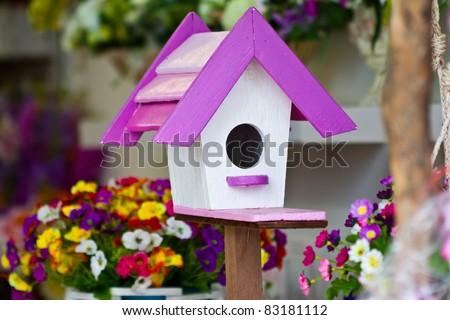 Wooden bird house - stock photo