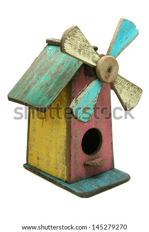 Wooden Bird House Isolated on White Background.  - stock photo