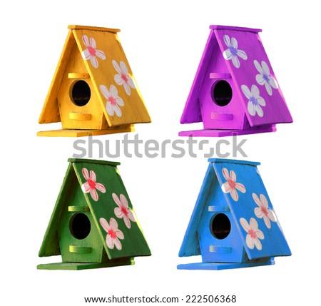 wooden bird house isolated on white background. - stock photo