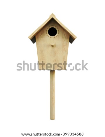 Wooden bird house on a pole isolated on a white background. Front view. 3d rendering. - stock photo