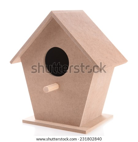 Wooden birdhouse for hand made decor, isolated on white - stock photo
