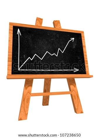 Wooden Blackboard with hand drawn graph symbol - stock photo