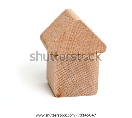 wooden block house isolated on white background