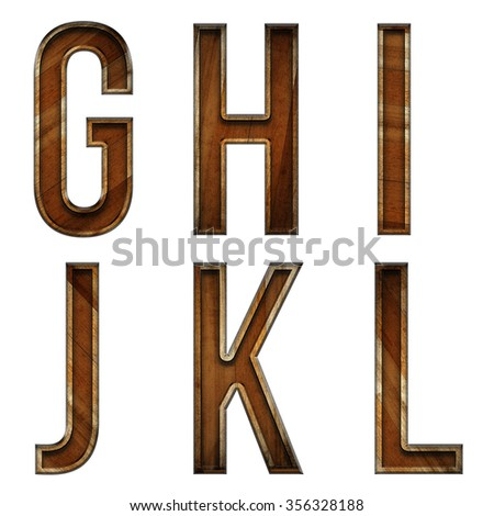 Wooden block letter G,H,I,J,K,L alphabet made from grunge wood isolated over the white background - stock photo