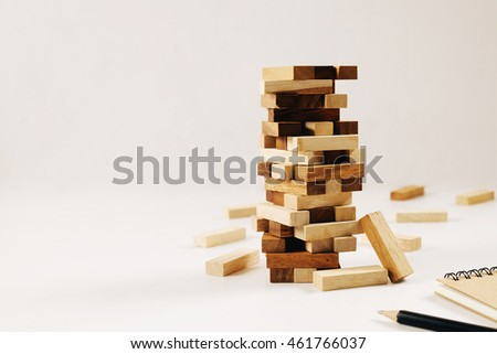 Wooden block. Tower Game with a Wooden.